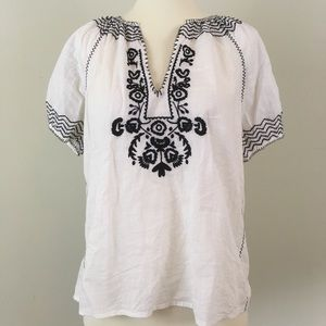 J.Crew Black White Boho Top Embroidery Small